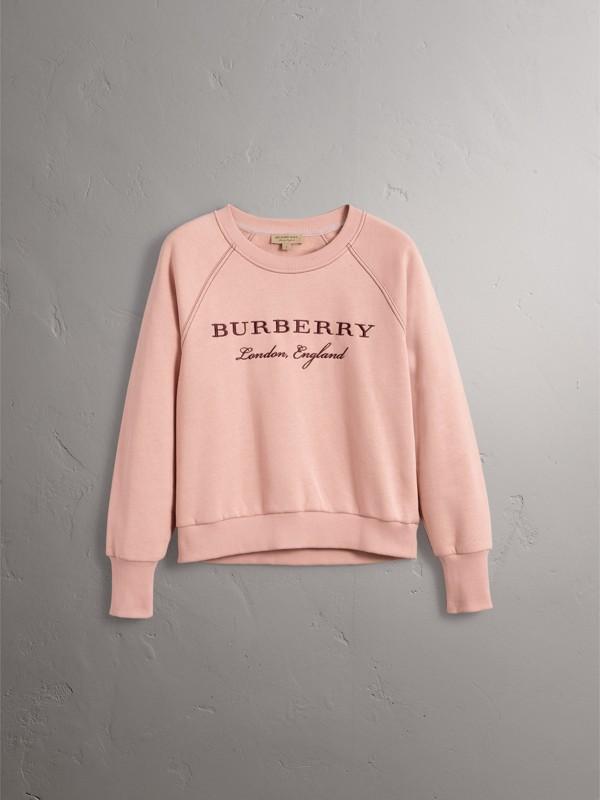 Sudadera en tejido jersey de mezcla de algodón con logotipo bordado (Rosa Ceniza) - Mujer | Burberry - cell image 3
