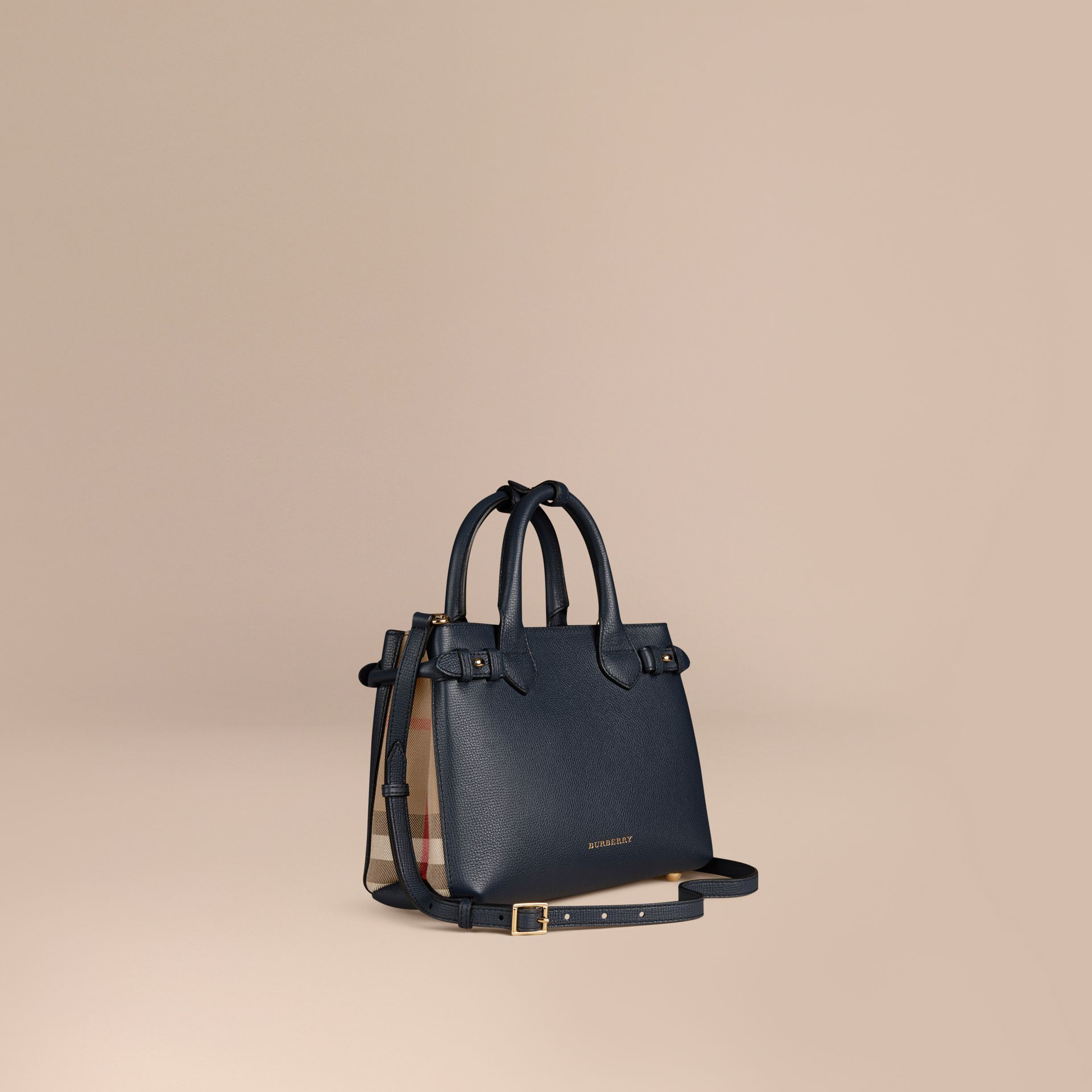 The Small Banner in Leather and House Check in Ink Blue - Women | Burberry Hong Kong - gallery image 1