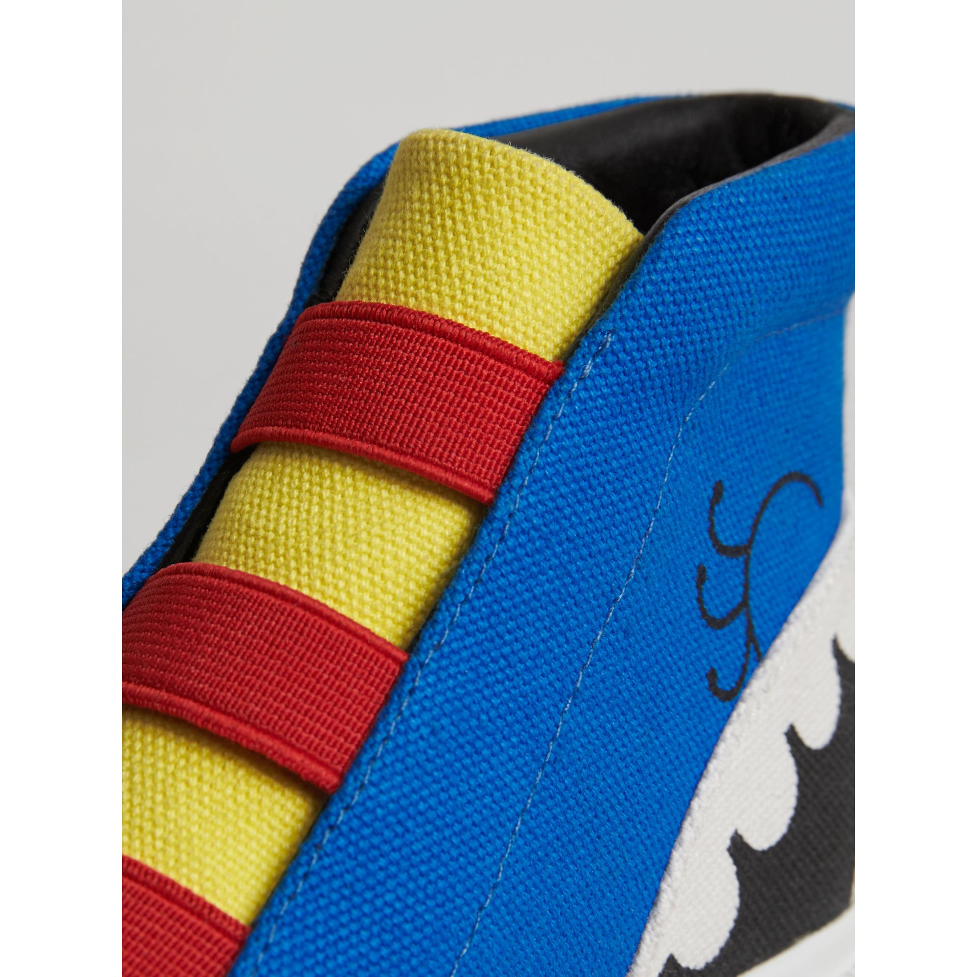 Monster Graphic High-top Sneakers in Bright Sky Blue | Burberry - gallery image 1