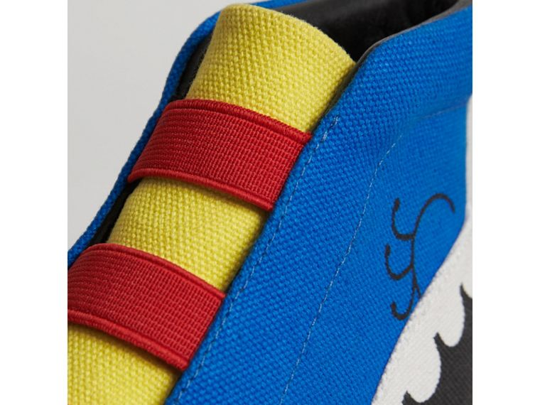 Monster Graphic High-top Sneakers in Bright Sky Blue | Burberry - cell image 1