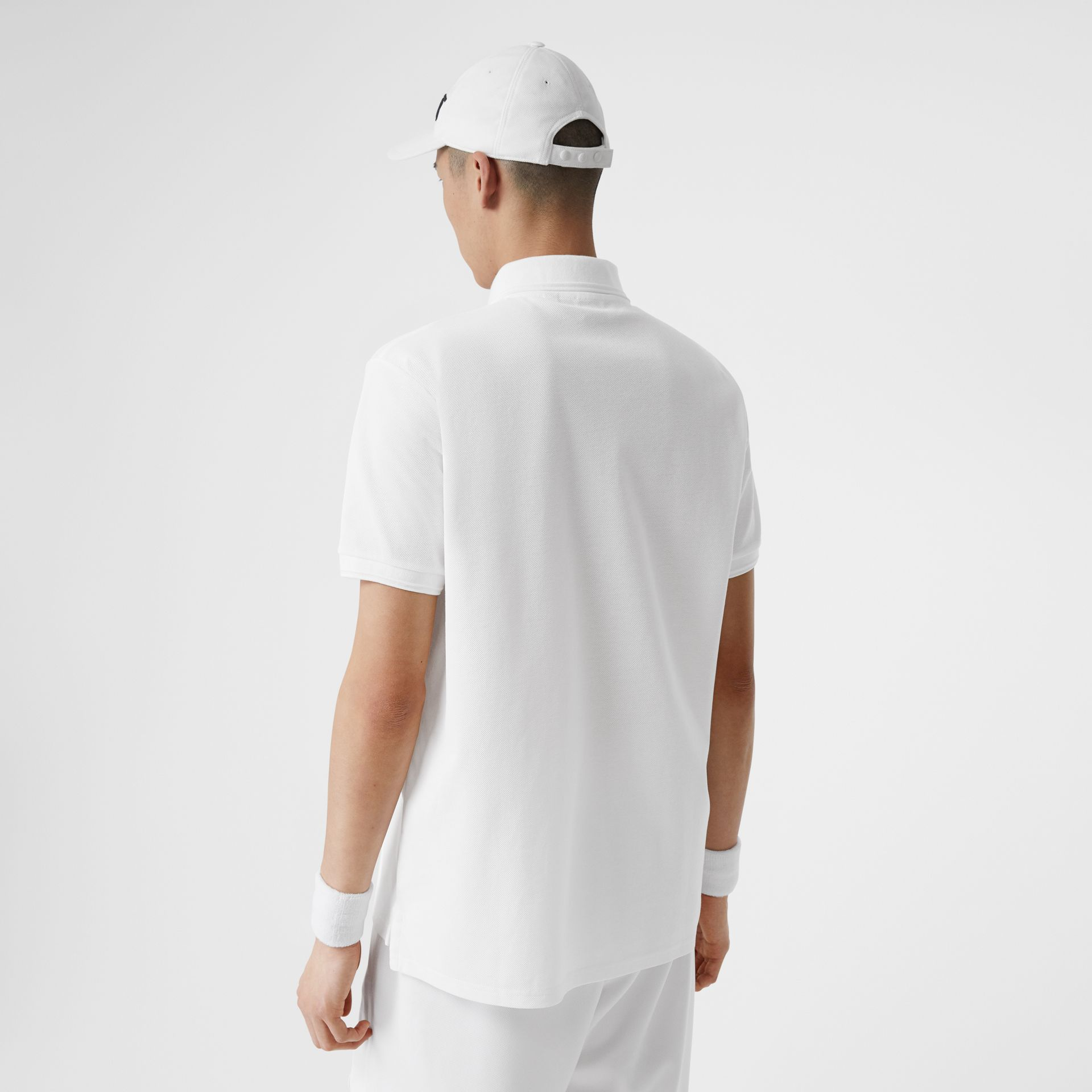 Monogram Motif Cotton Piqué Oversized Polo Shirt in White - Men | Burberry - gallery image 1