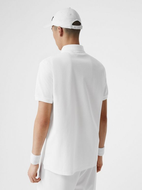 Monogram Motif Cotton Piqué Oversized Polo Shirt in White - Men | Burberry United Kingdom - cell image 1