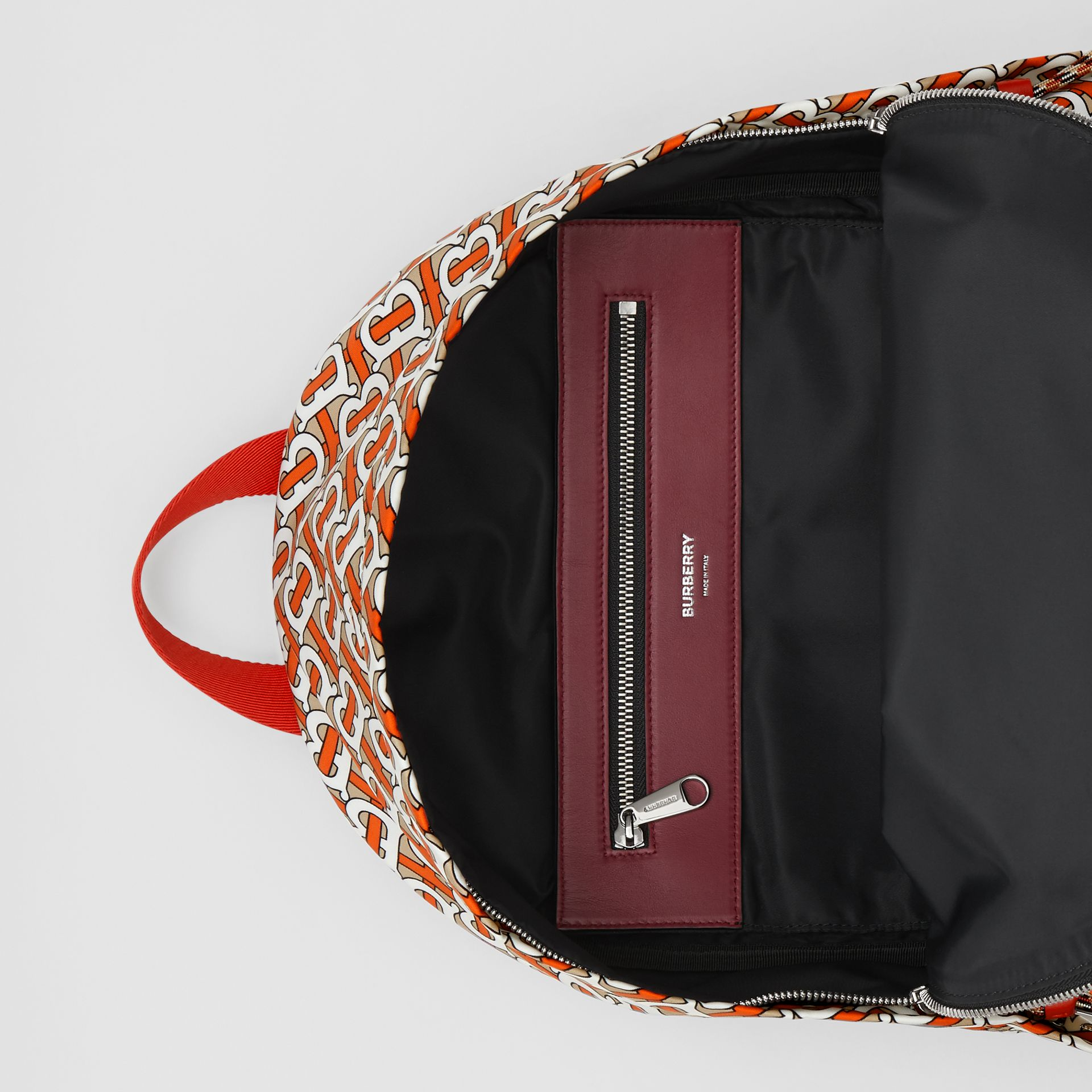 Monogram Print Nylon Backpack in Vermillion | Burberry - gallery image 5