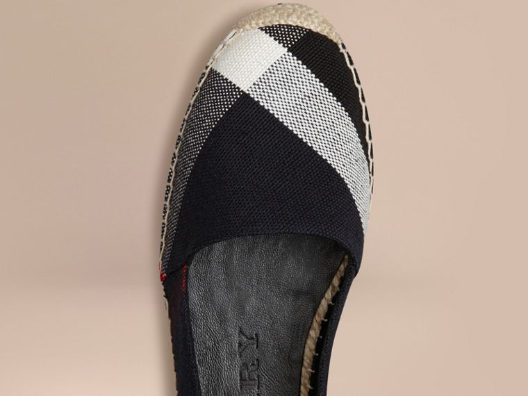 Navy check Check Jute Cotton Espadrilles - cell image 4