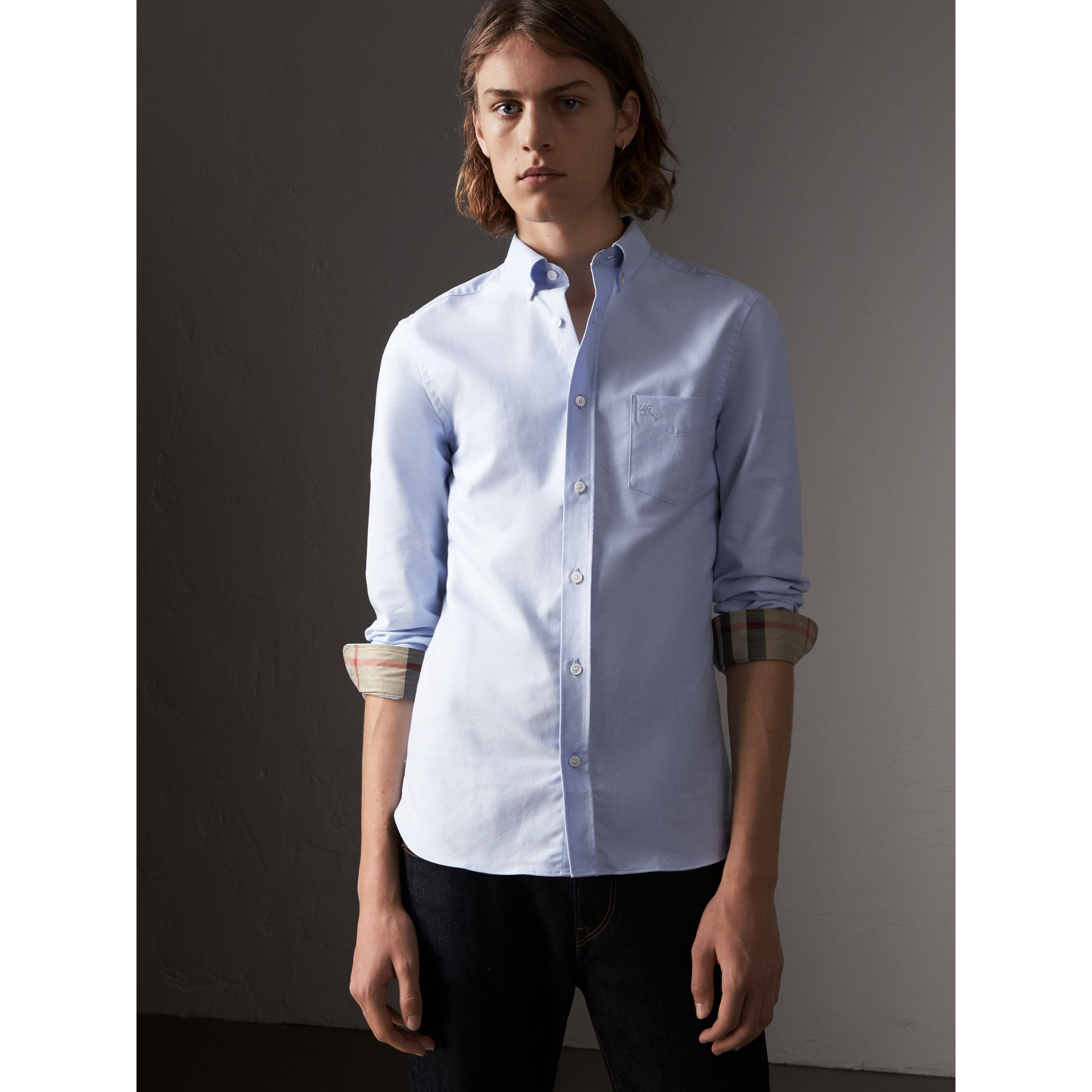 Check Detail Cotton Oxford Shirt in Cornflower Blue - Men | Burberry - gallery image 0