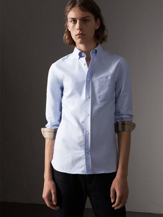 格紋細節設計棉質牛津襯衫 (矢車菊藍)