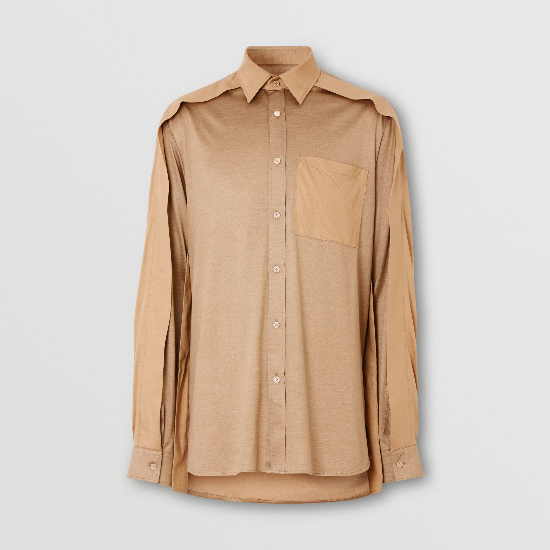 Classic Fit Cape Sleeve Silk Jersey Shirt in Soft Fawn | Burberry - gallery image 3