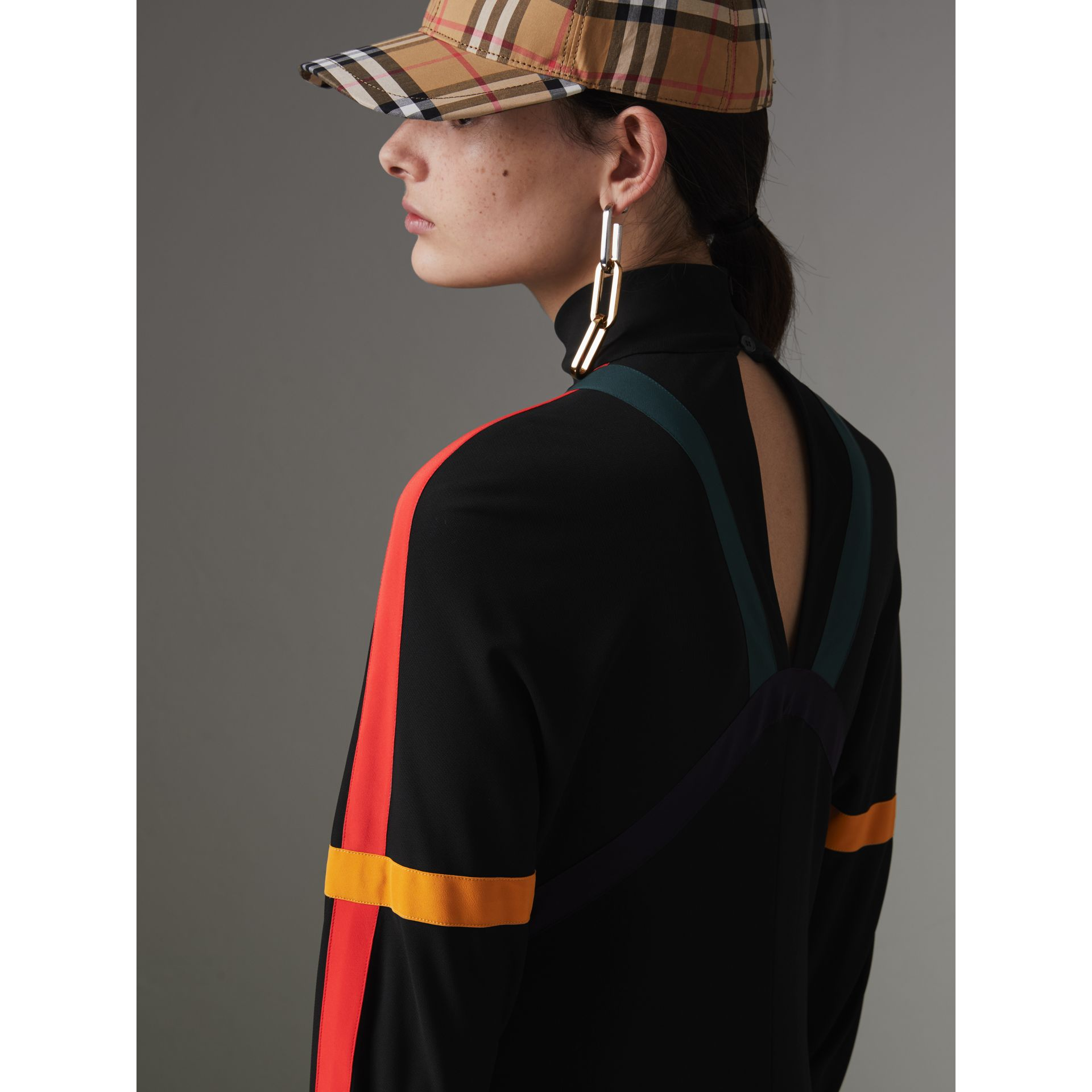 Colour Block Detail Jersey Turtleneck Dress in Black - Women | Burberry United States - gallery image 4