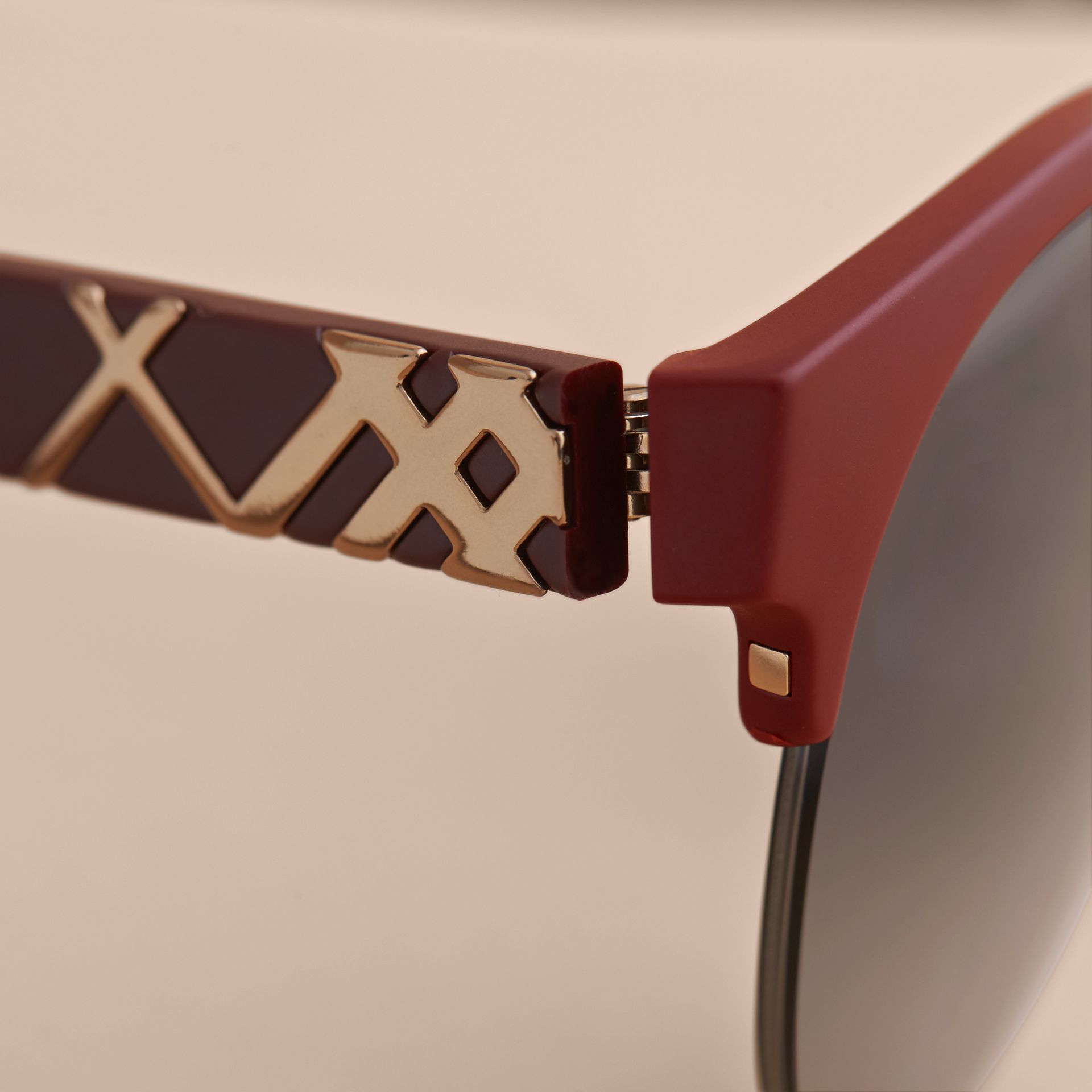 Check Detail Round Half-frame Sunglasses in Burgundy - Women | Burberry - gallery image 1