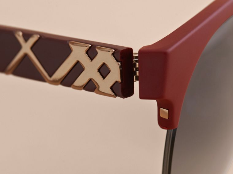Check Detail Round Half-frame Sunglasses in Burgundy - Women | Burberry United Kingdom - cell image 1