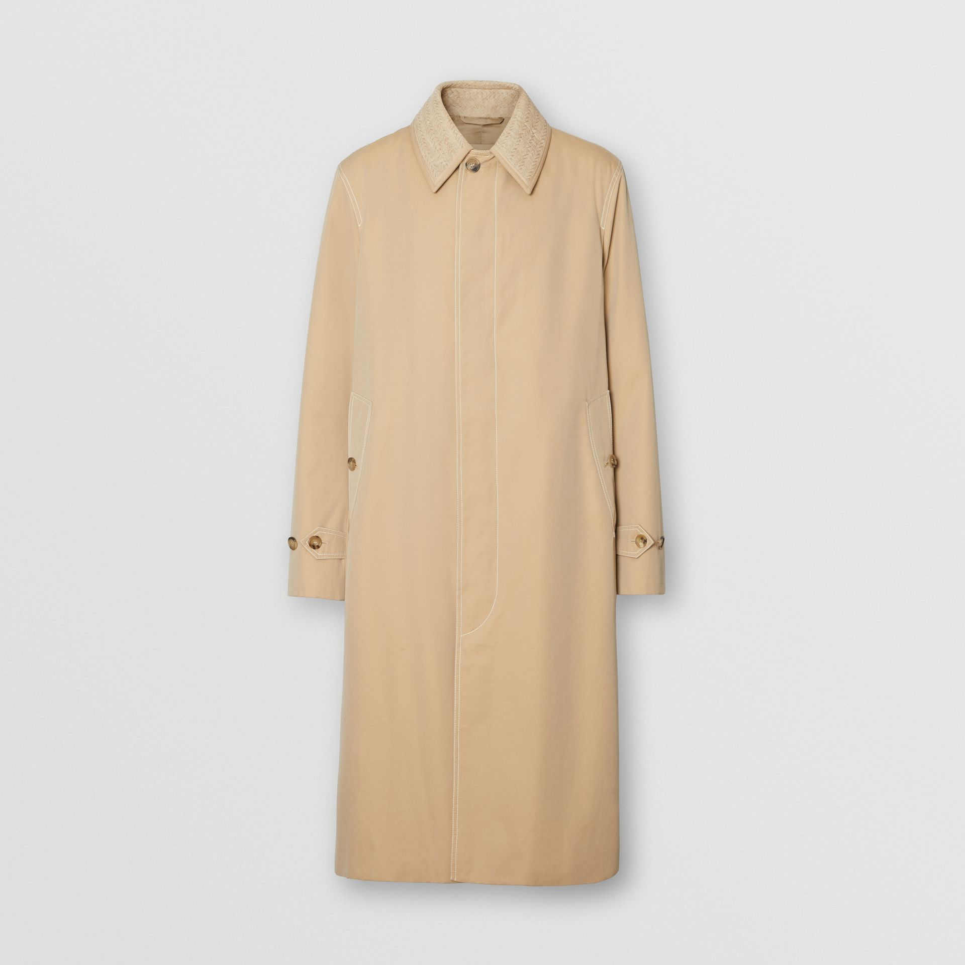 Linen Collar Button Panel Cotton Car Coat in Honey | Burberry Australia - gallery image 3