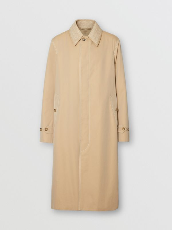 Linen Collar Button Panel Cotton Car Coat in Honey | Burberry Australia - cell image 3