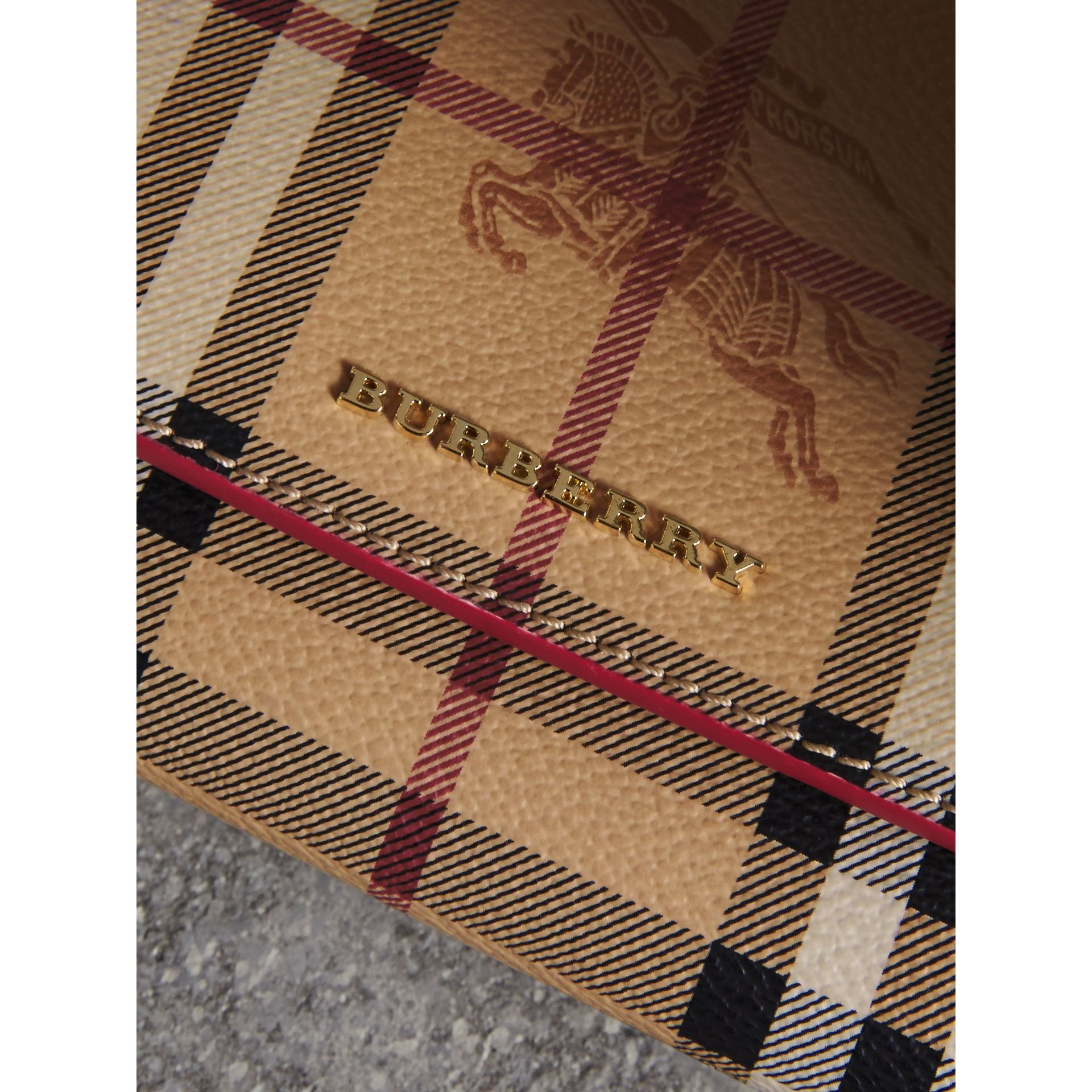 Haymarket Check and Leather Slim Continental Wallet in Coral Red - Women | Burberry Australia - gallery image 2