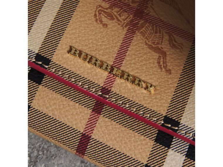 Haymarket Check and Leather Slim Continental Wallet in Coral Red - Women | Burberry Australia - cell image 1