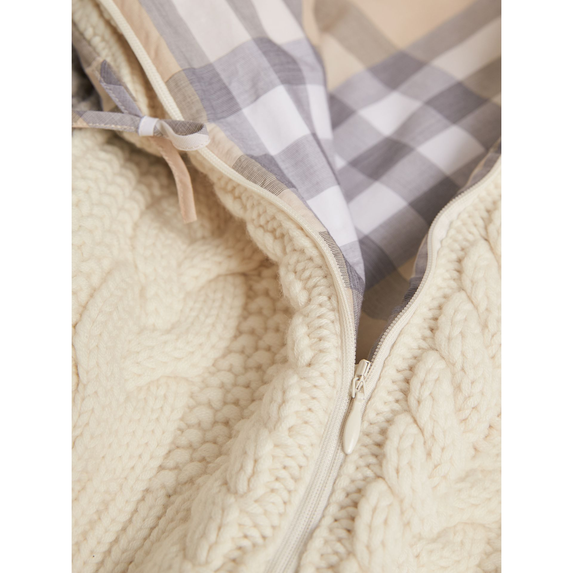 Cable Knit Wool Cashmere Baby Nest in Natural White | Burberry Australia - gallery image 2