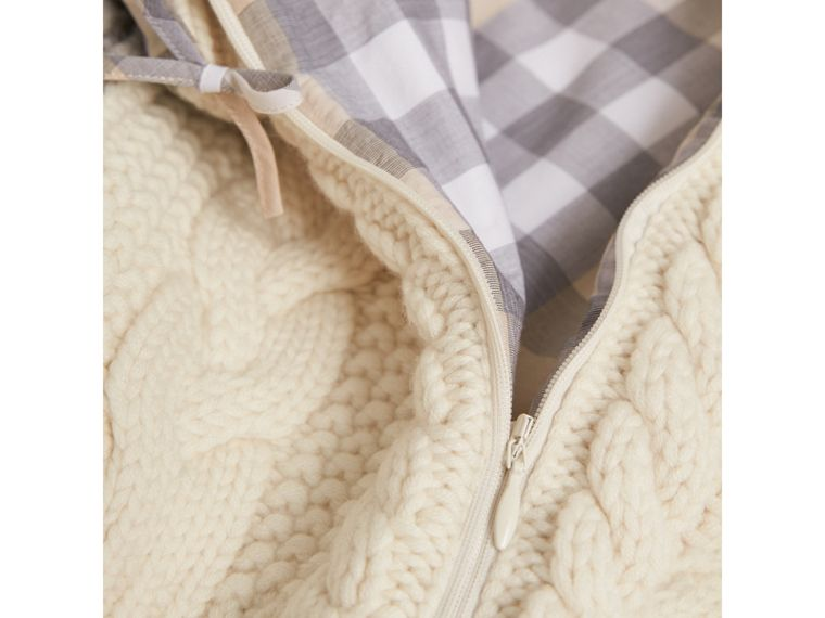 Cable Knit Wool Cashmere Baby Nest in Natural White | Burberry - cell image 1