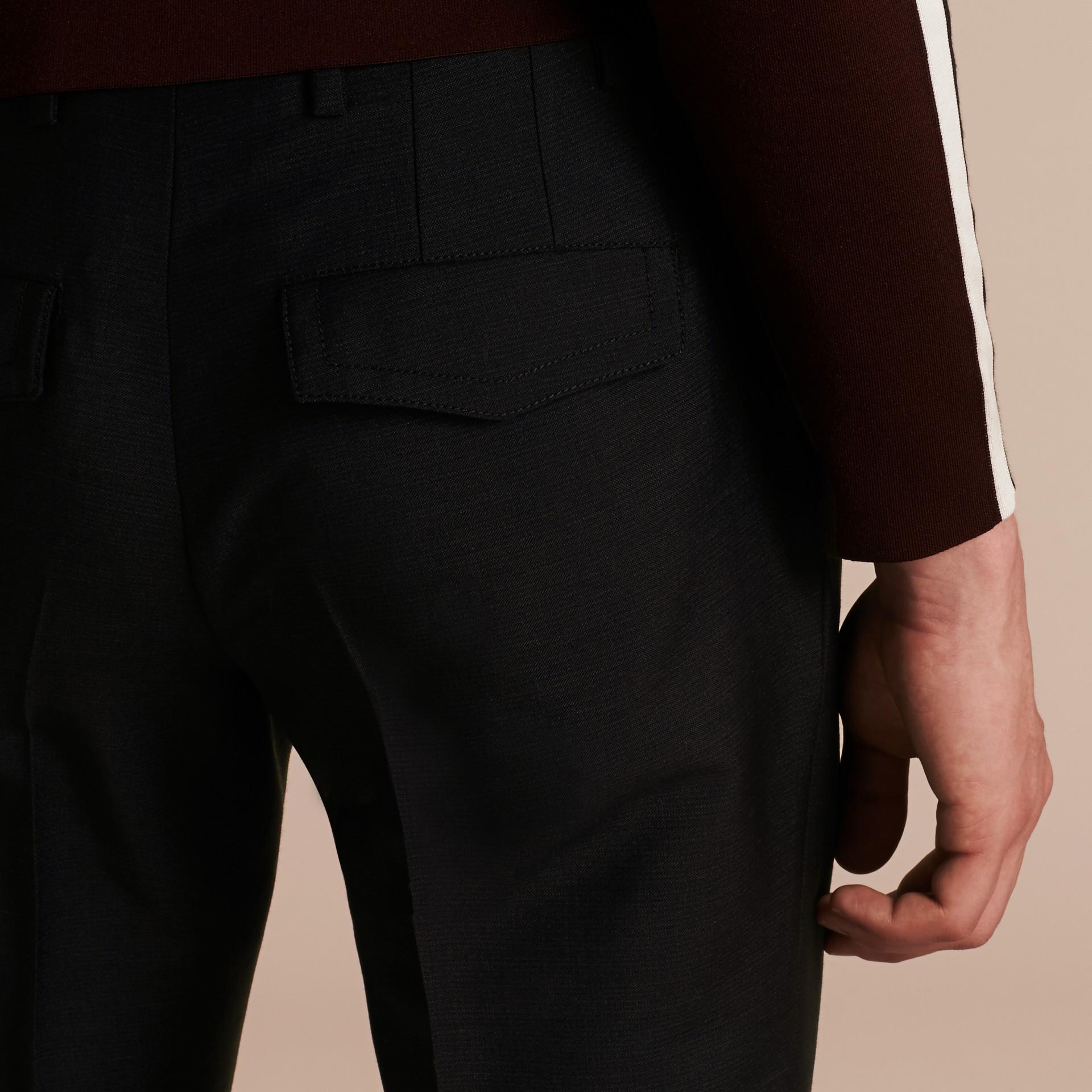Bleu étain Pantalon bootcut en mohair et laine mélangés - photo de la galerie 5