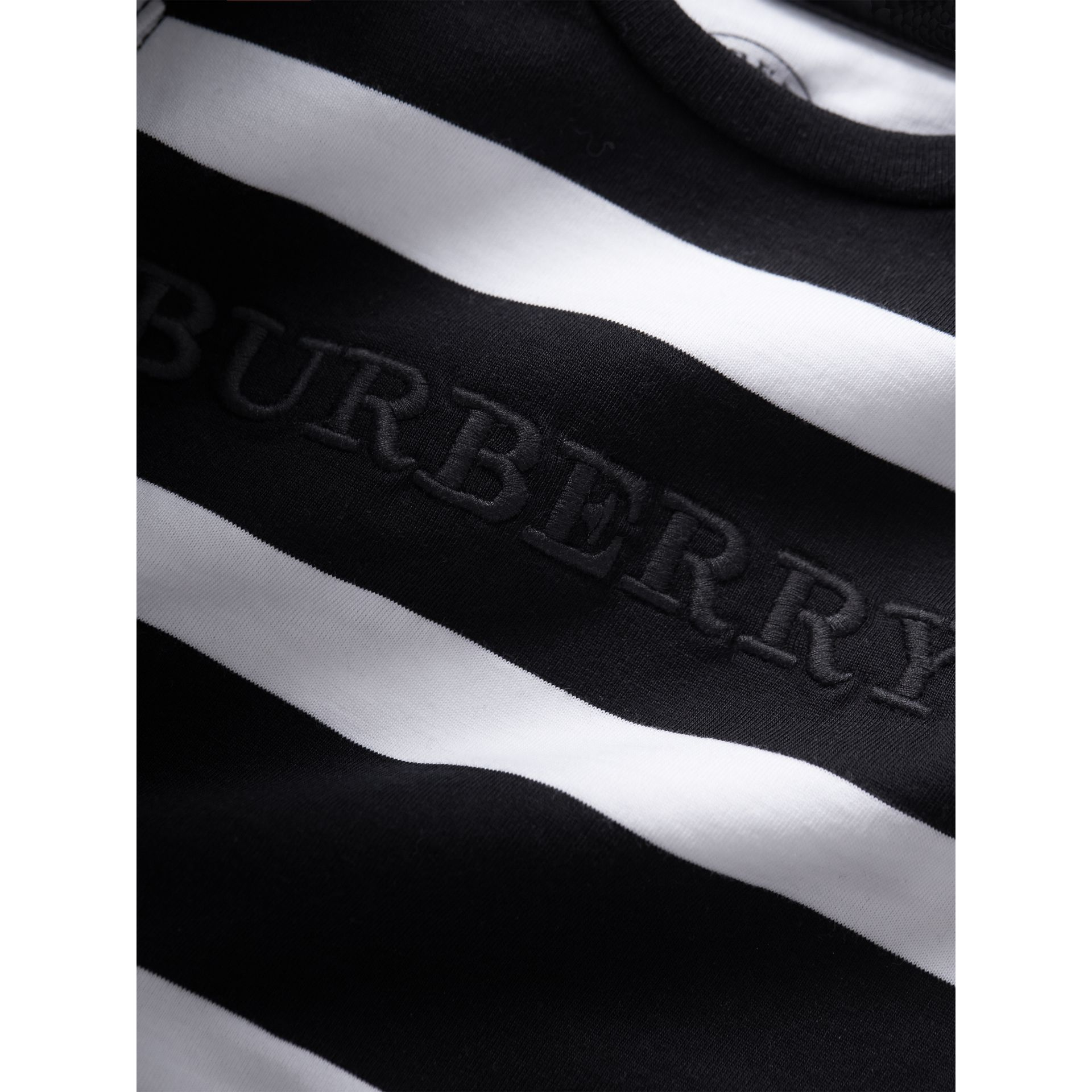 Long-sleeve Striped Cotton Top in Black/white | Burberry Australia - gallery image 2