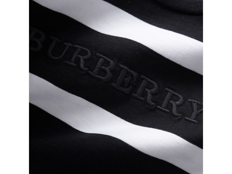 Long-sleeve Striped Cotton Top in Black/white | Burberry Australia - cell image 1