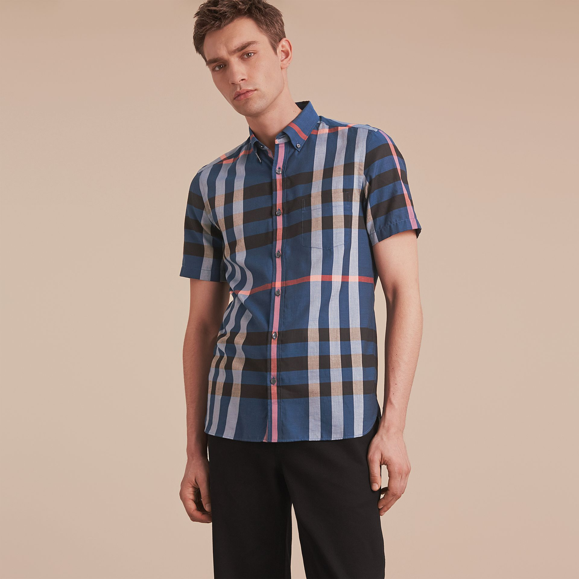 Button-down Collar Short-sleeve Check Cotton Shirt in Ink Blue - gallery image 6