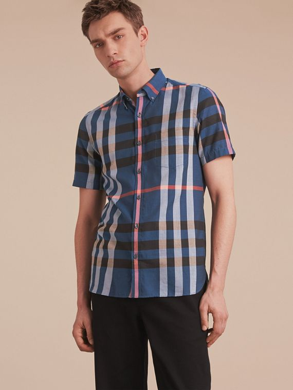 Button-down Collar Short-sleeve Check Cotton Shirt Ink Blue