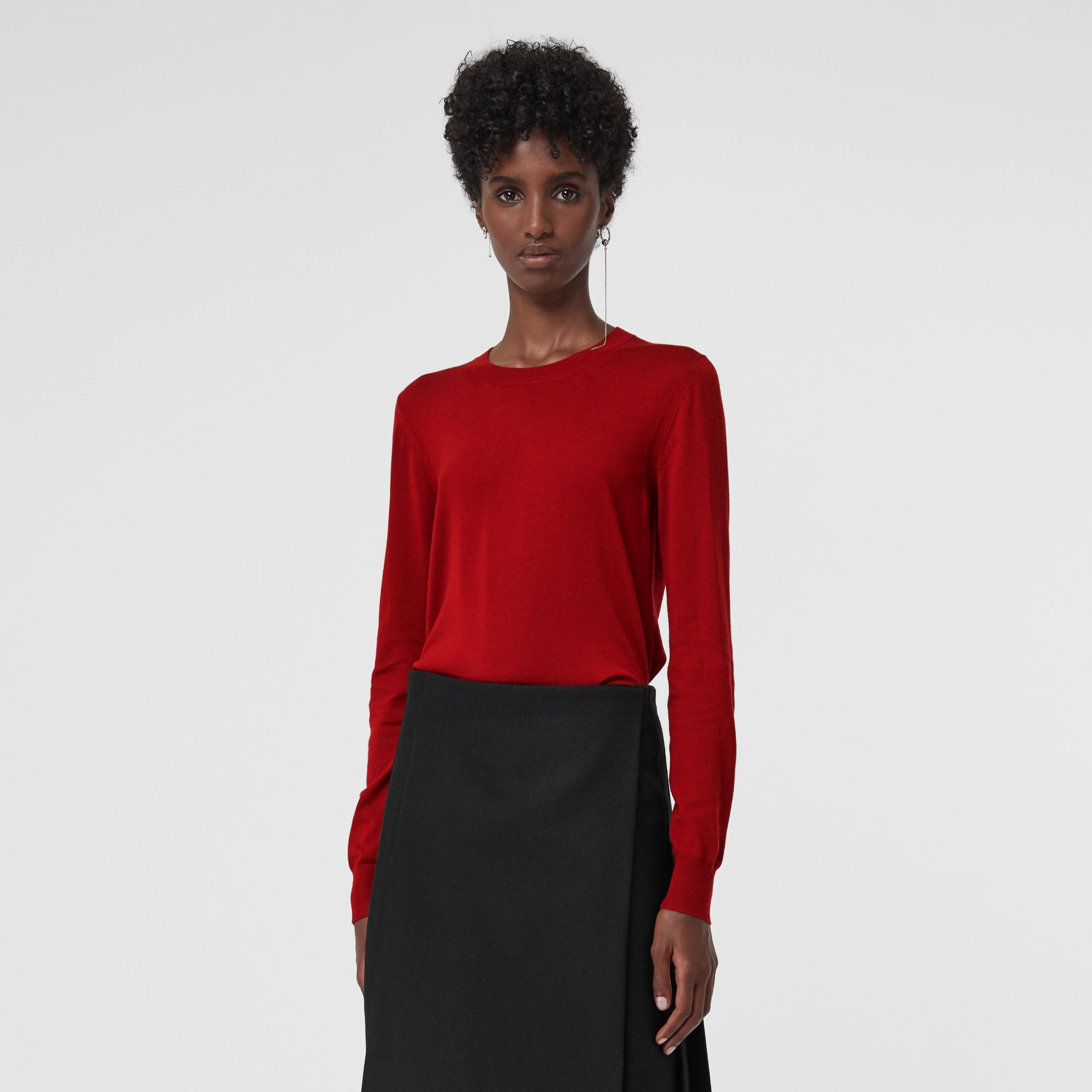 Check Detail Merino Wool Sweater in Parade Red - Women | Burberry United States - gallery image 2