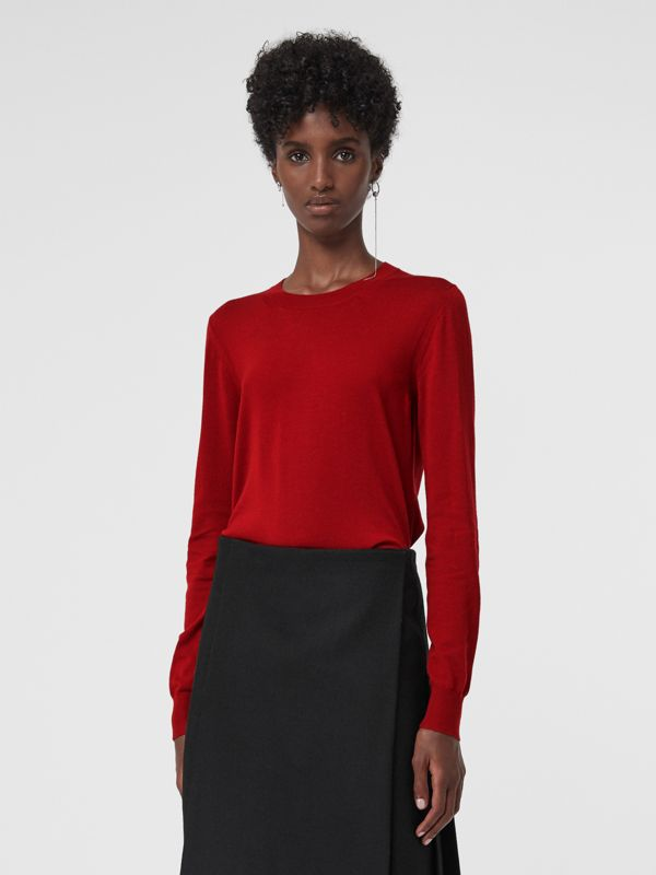Check Detail Merino Wool Sweater in Parade Red - Women | Burberry - cell image 2