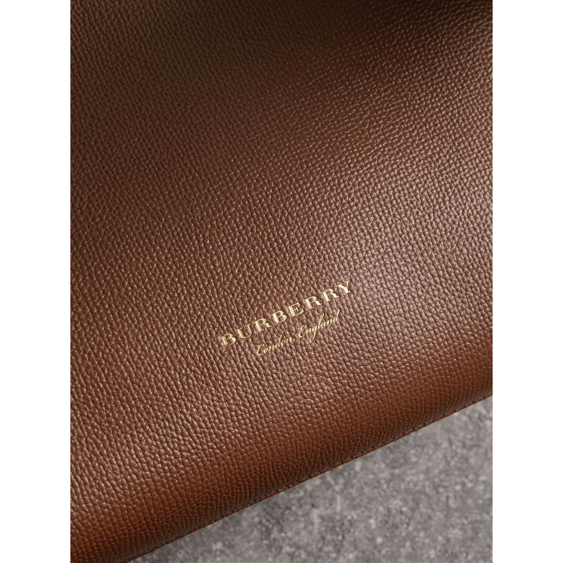 The Small Banner in Leather and House Check in Tan - Women | Burberry United Kingdom - gallery image 1