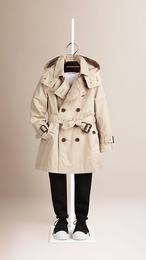 Trench Hooded Cotton Twill Trench Coat  - Image 1