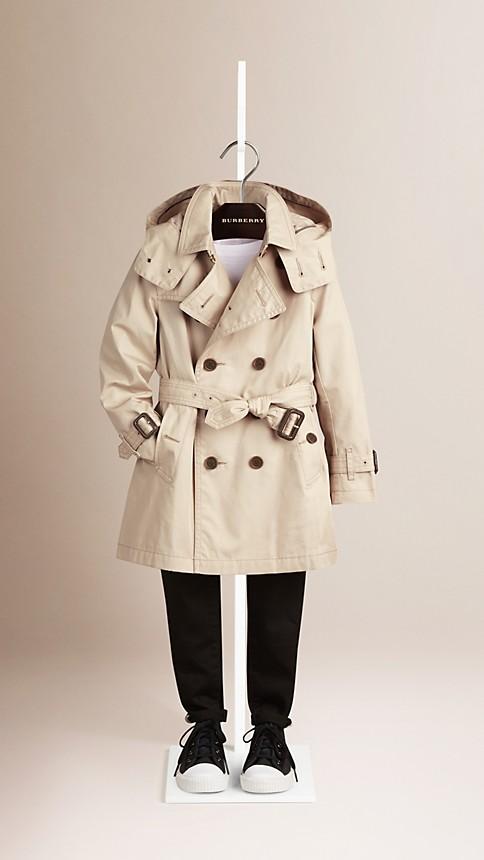 Trench Trench-coat à capuche en sergé de coton - Image 1