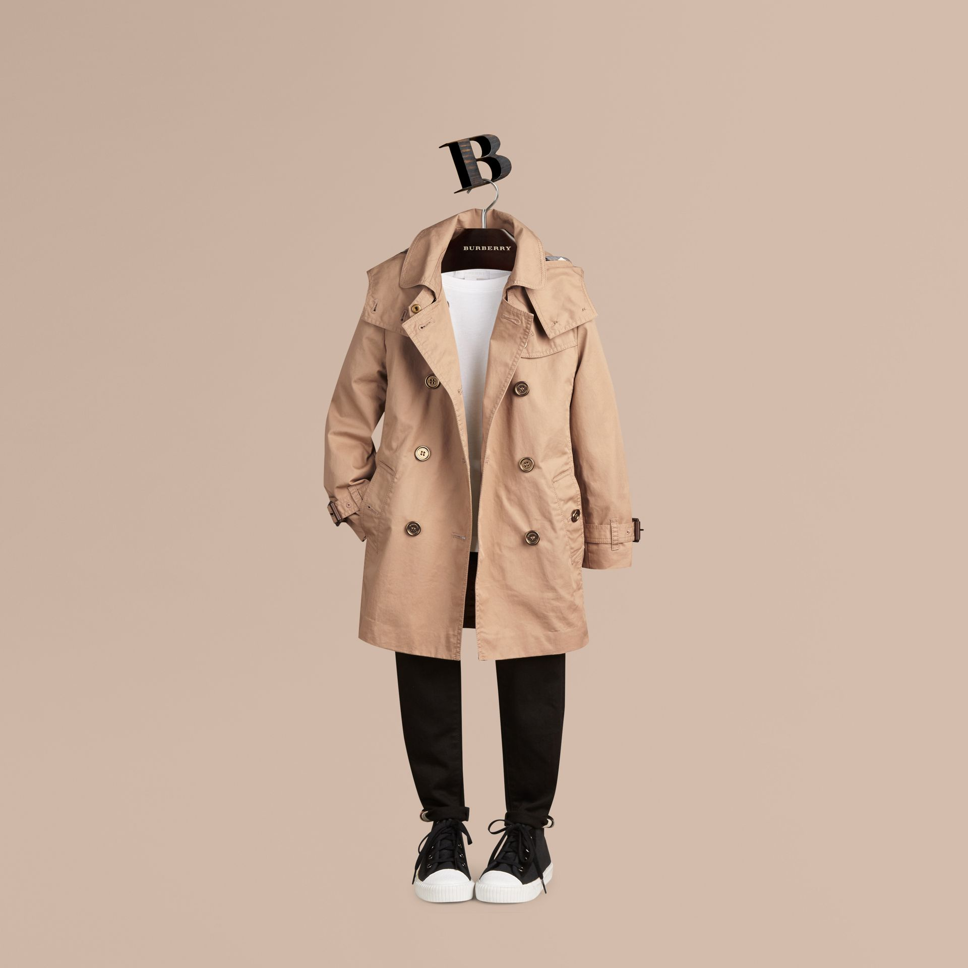 Miel Trench-coat à capuche amovible en sergé de coton - photo de la galerie 3
