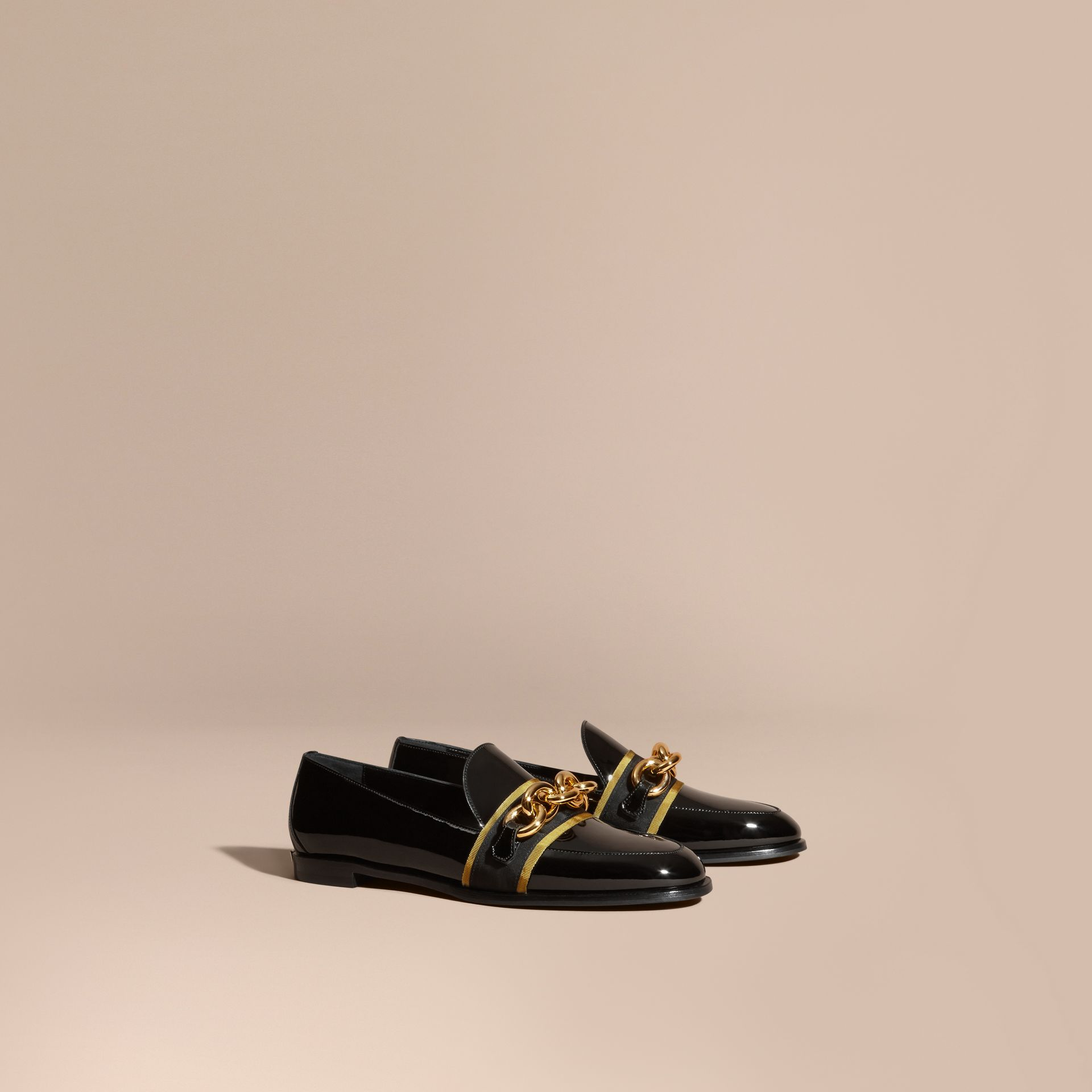 Black/gold Chain Detail Leather Loafers - gallery image 1