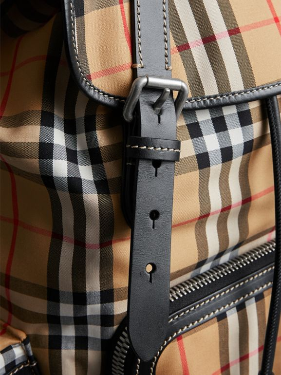 The Large Rucksack in Vintage Check and Leather in Antique Yellow - Men | Burberry Australia - cell image 1