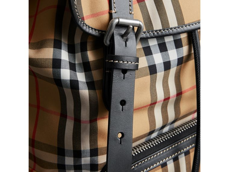 The Large Rucksack in Vintage Check and Leather in Antique Yellow - Men | Burberry United States - cell image 1