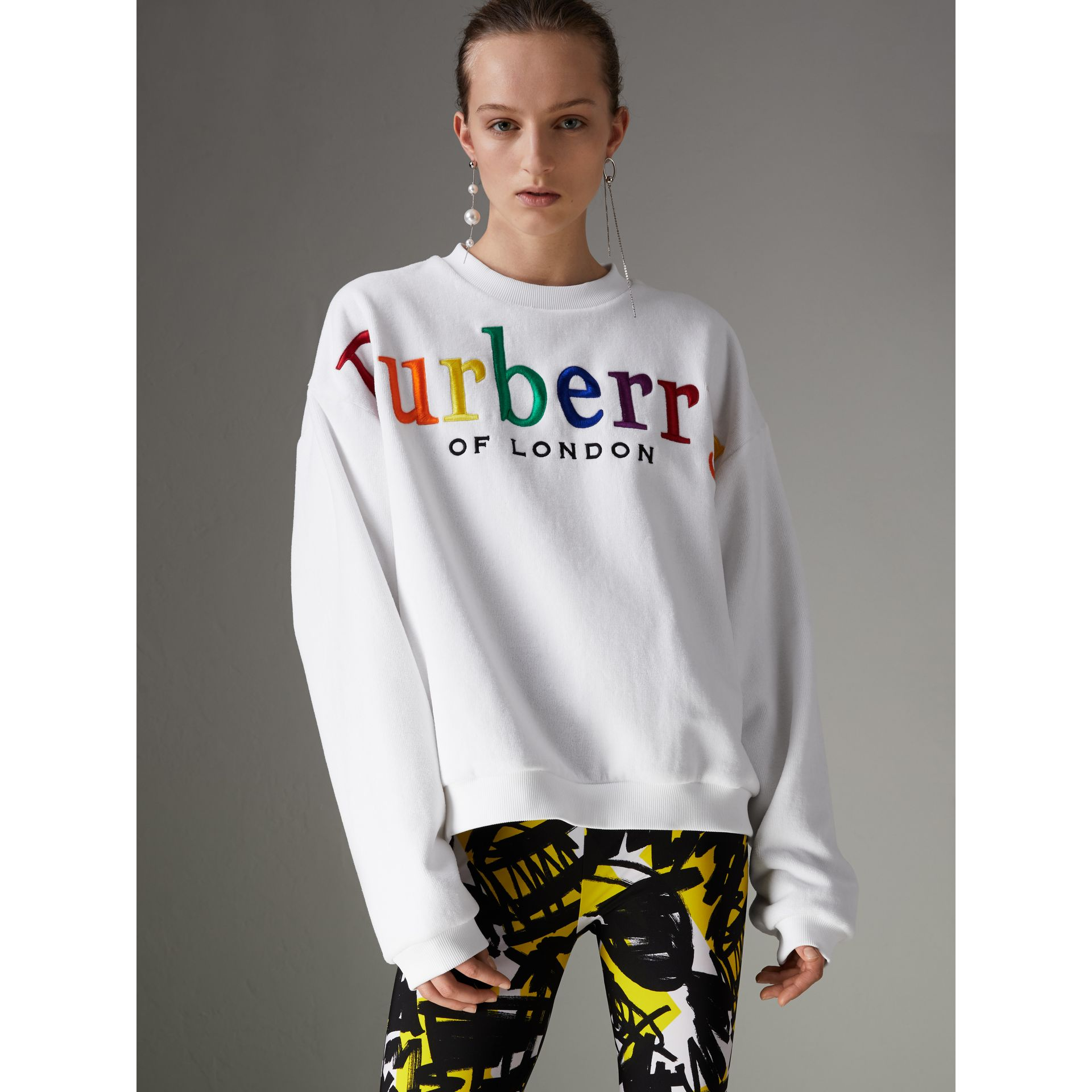 Archive Logo Towelling Sweatshirt in White - Women | Burberry Canada - gallery image 4