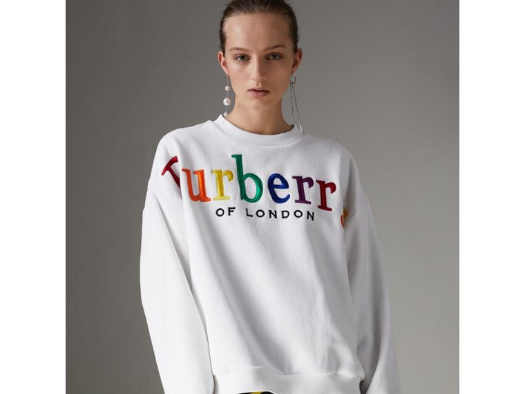 Archive Logo Towelling Sweatshirt in White - Women | Burberry Australia - cell image 4