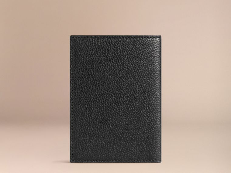 Grainy Leather Passport Cover in Black | Burberry - cell image 1
