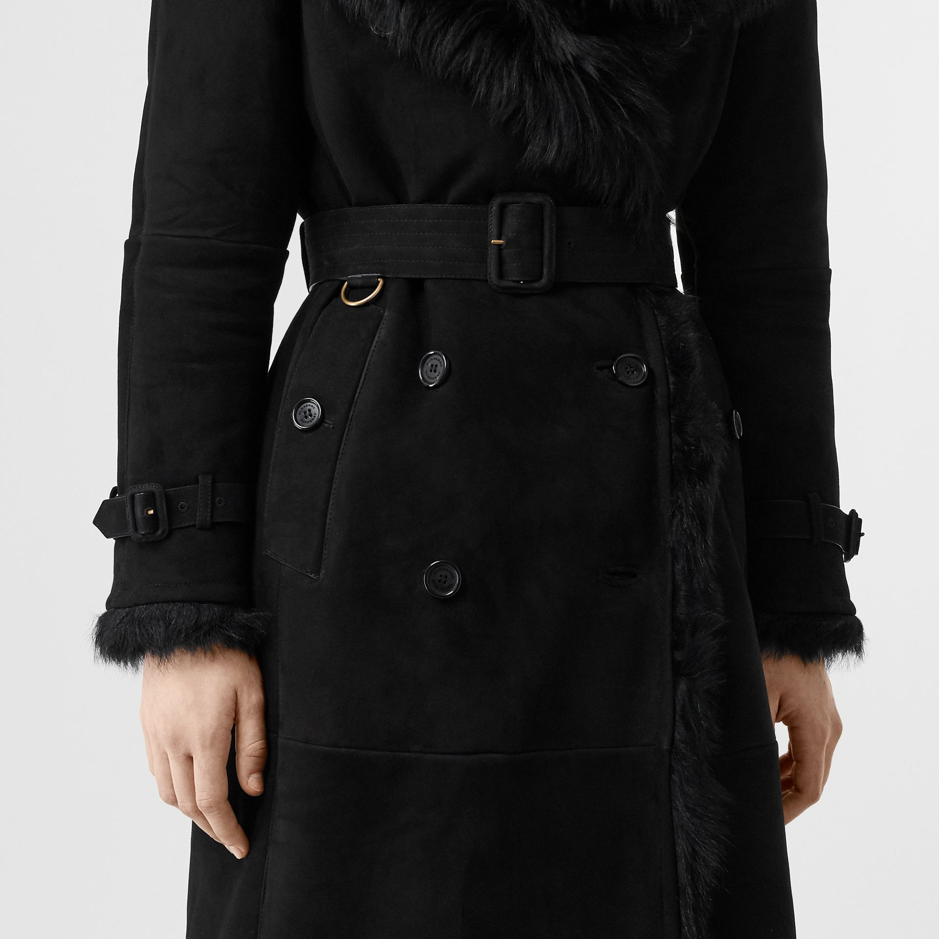 Shearling Trench Coat in Black - Women | Burberry - gallery image 4