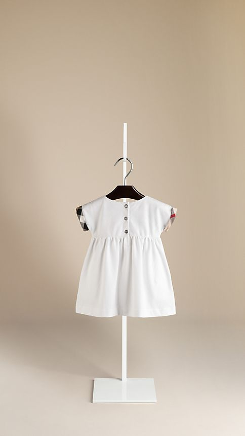 White Check Cuff Cotton Dress - Image 2