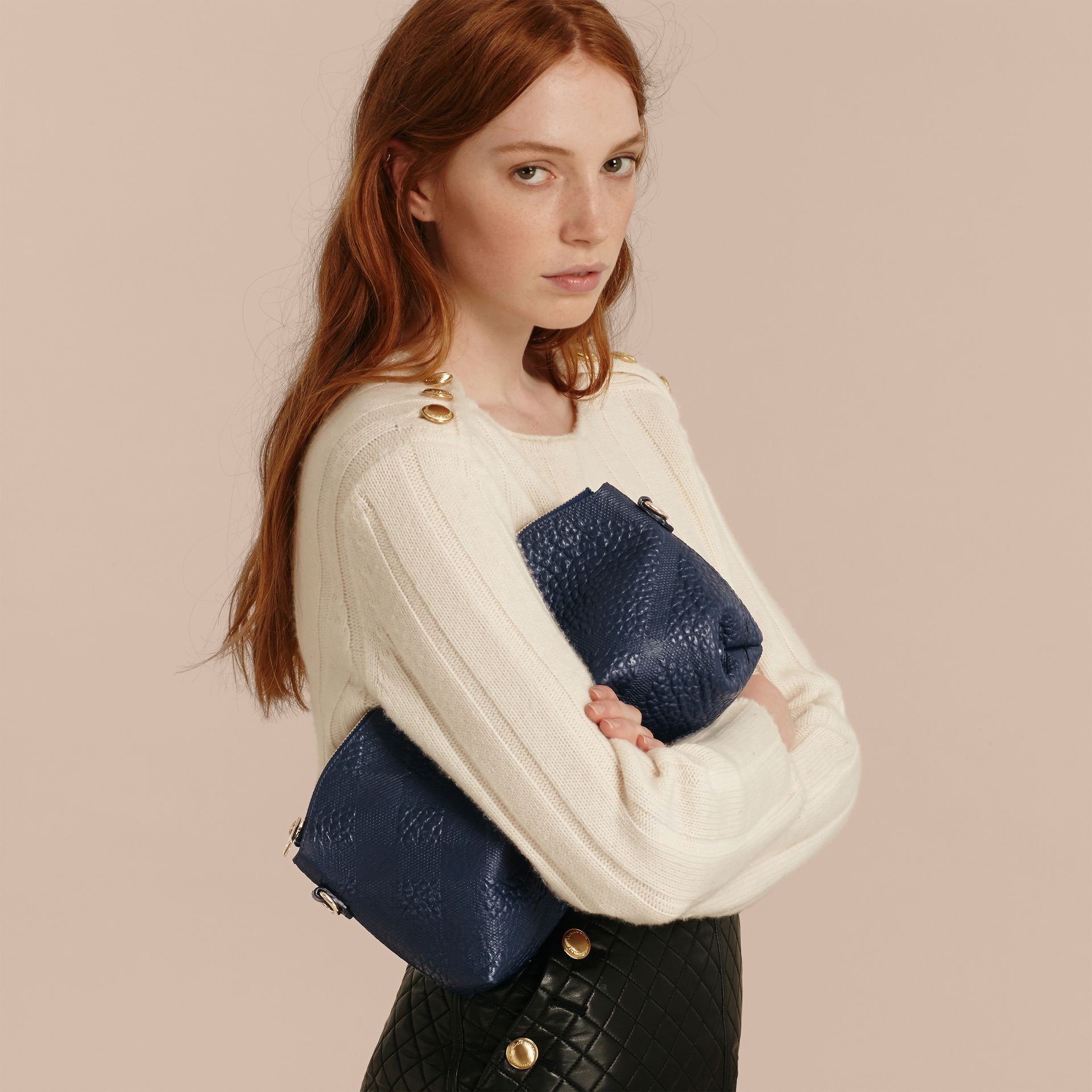 Small Embossed Check Leather Clutch Bag in Blue Carbon - gallery image 4