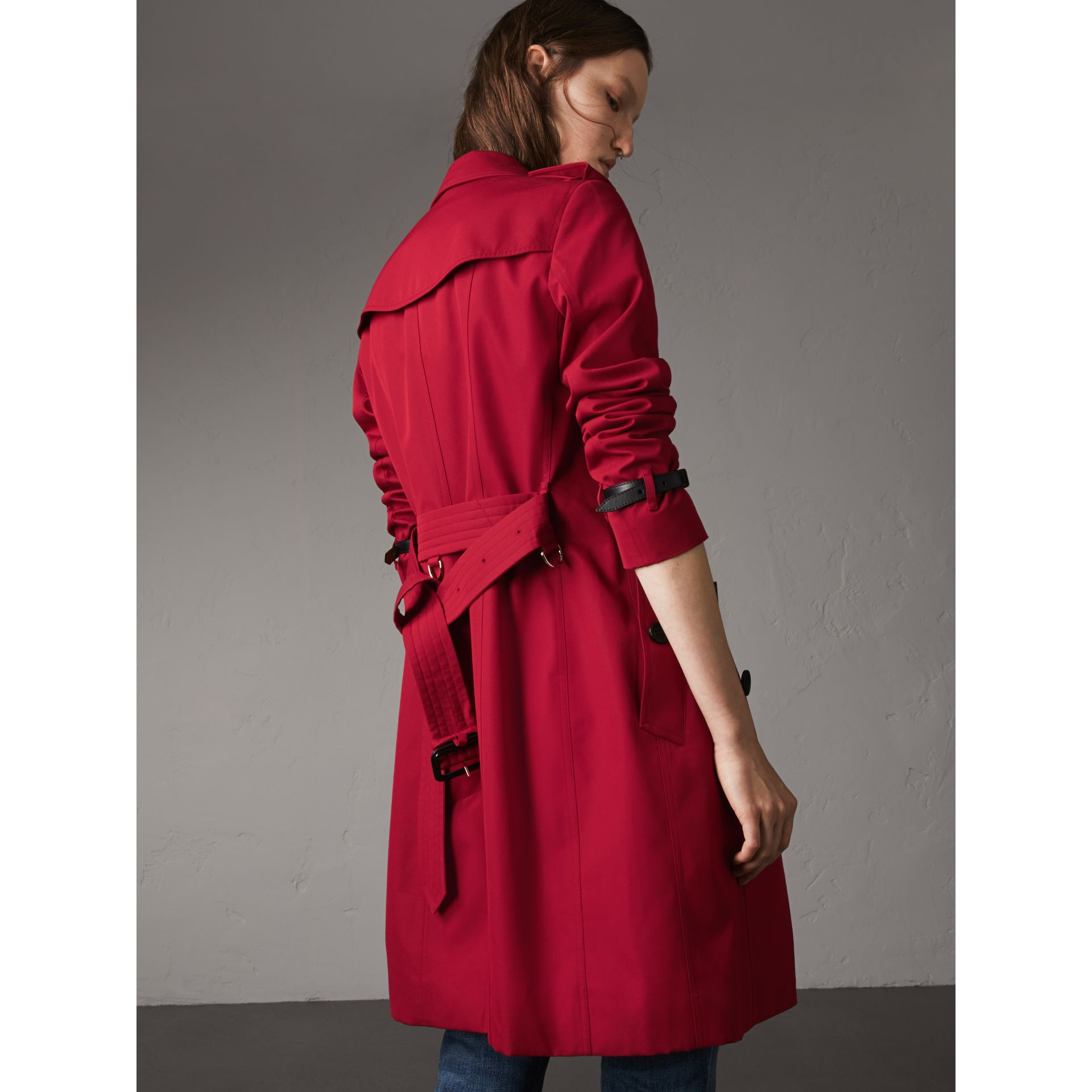 Leather Trim Cotton Gabardine Trench Coat in Parade Red - Women | Burberry Singapore - gallery image 3