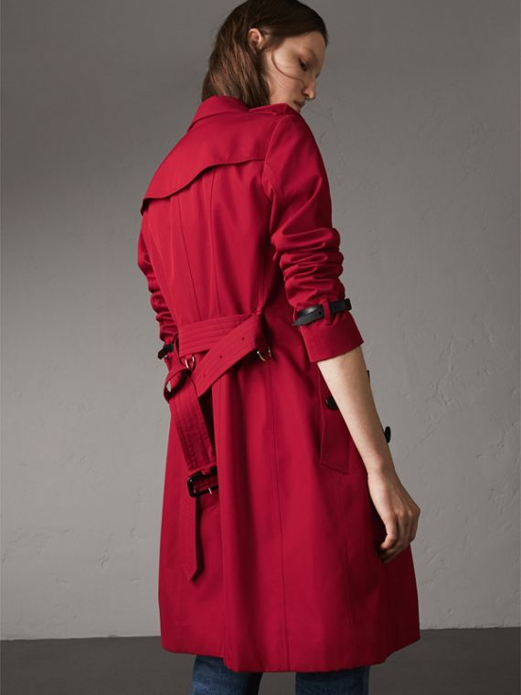 Leather Trim Cotton Gabardine Trench Coat in Parade Red - Women | Burberry - cell image 2