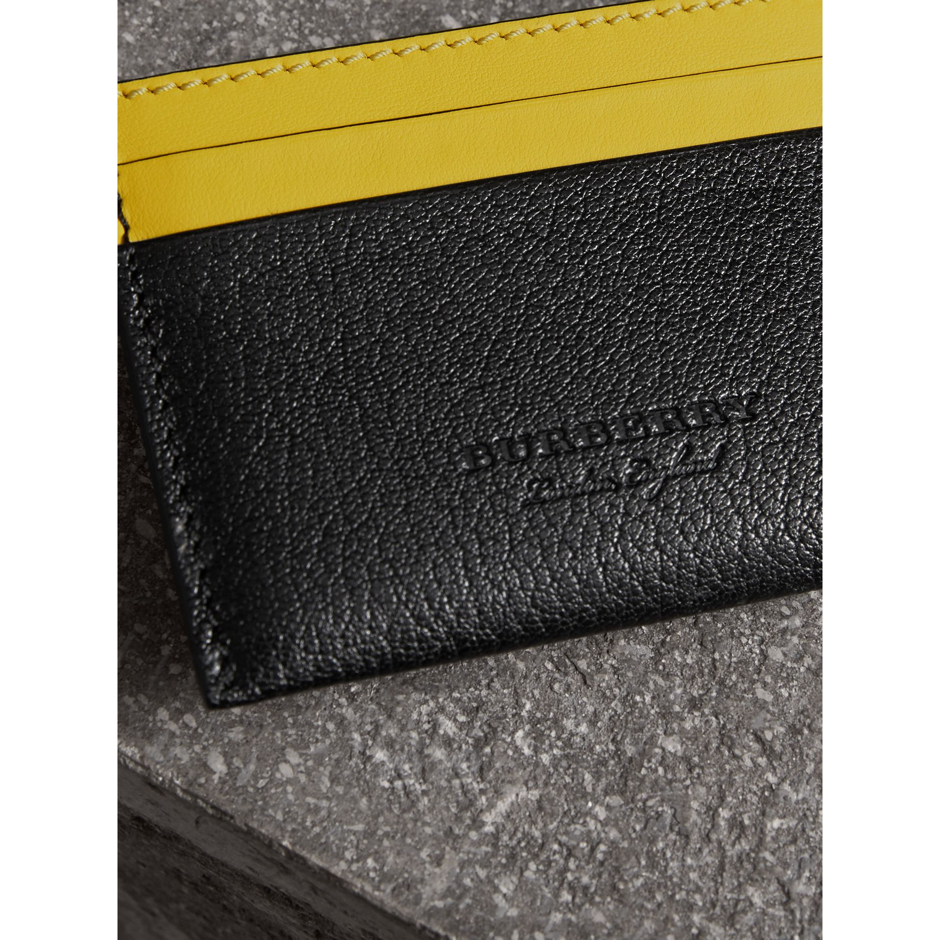 Two-tone Leather Card Case in Black | Burberry Australia - gallery image 1