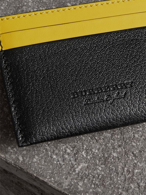 Two-tone Leather Card Case in Black | Burberry Australia - cell image 1