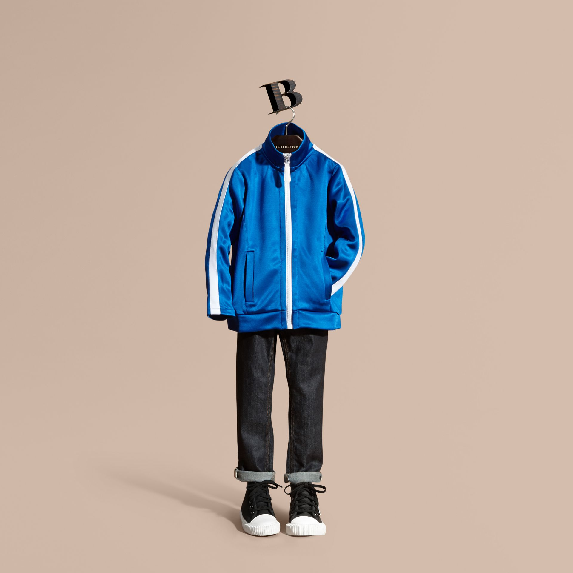 High-shine Technical Track Jacket in Atlantic Blue - gallery image 1