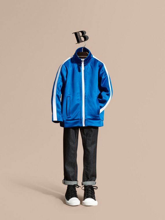 High-shine Technical Track Jacket Atlantic Blue