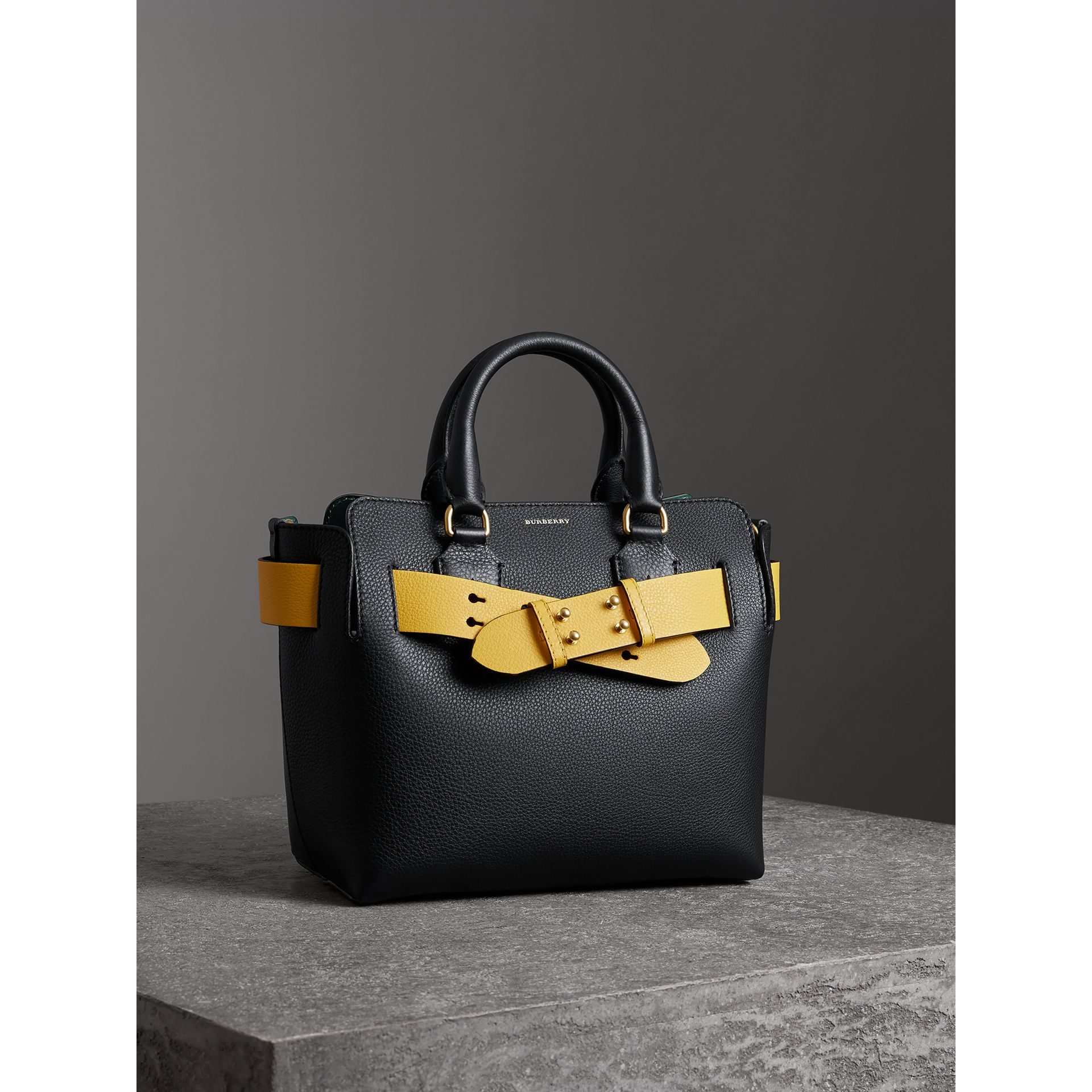 The Small Leather Belt Bag in Black/yellow - Women | Burberry - gallery image 6