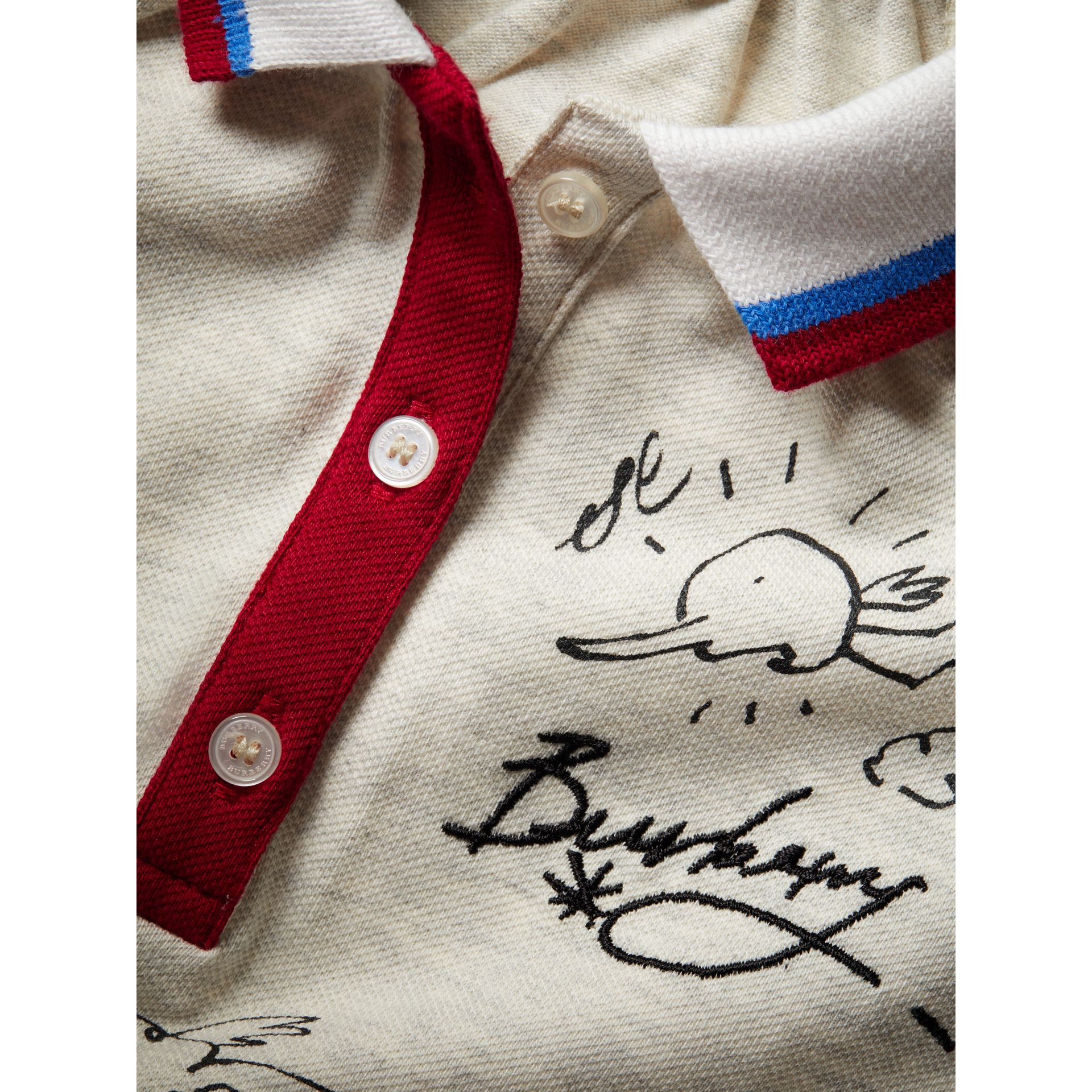 Stretch Cotton Polo Dress in White Melange - Children | Burberry - gallery image 1