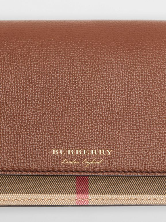 Leather and House Check Wallet with Detachable Strap in Tan - Women | Burberry - cell image 1