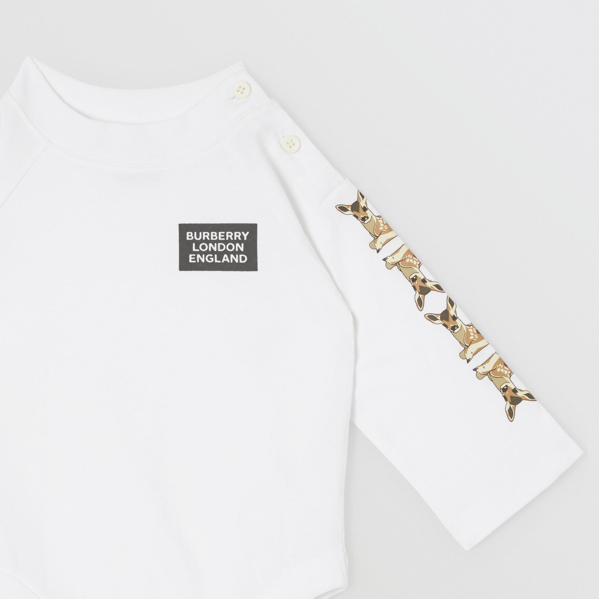 Check Trim Organic Cotton Two-piece Baby Gift Set in White - Children   Burberry United Kingdom - gallery image 7